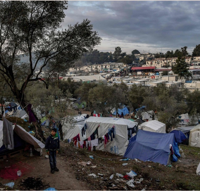 Migrants Refugees Lesvos Camp Moria